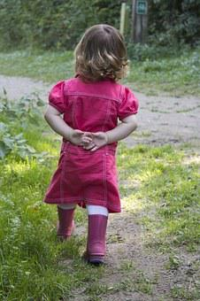 Child, Boots, Welly's, Autumn, Red Dress, Young, Girl