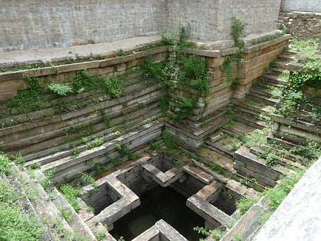 Temple Tank, Steps Well, Tank, Ancient, Overgrown
