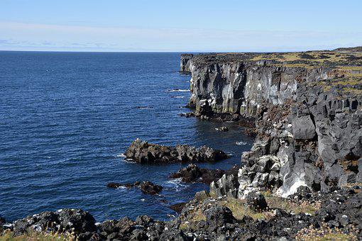 öndverðarnes, Cliff, Cliffs, Volcanic Rock, Sea, Rock
