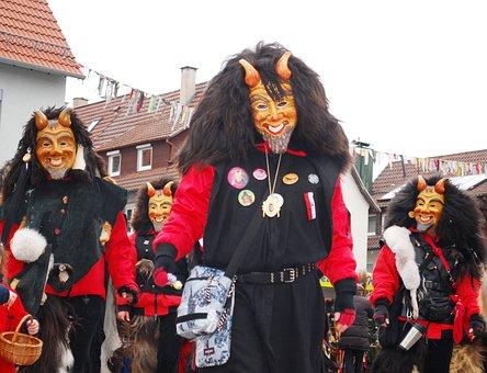 Carnival, Shrovetide, Germany, Mask, Devil, Happy
