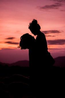 Sunset, The Sea, Those, Silhouette, Weak, Coupple