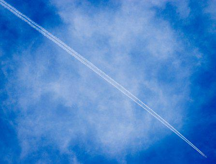 Aircraft, Blue Sky, Sky, Plane, Flight, Backward, White
