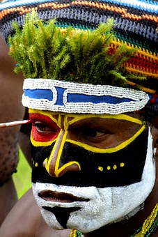 Papua, Portrait, African, New Guinea, Mask, Painted
