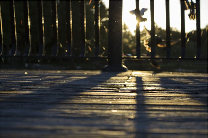 Wood, Deck, Railing, Sunset, Shadows, Yard