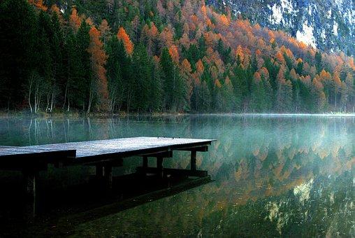 Autumn, Fall, Lake, Dock, Mountains, Wild, Wilderness