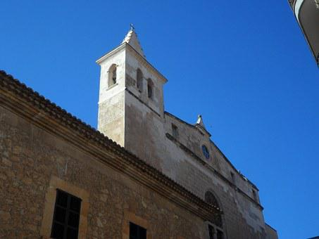 Cityscape, Manacor, Facades, Church, Steeple
