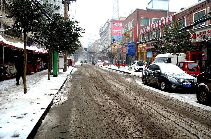Landscape, Slush, Street Slush, Melt, Ice, Snow Winter