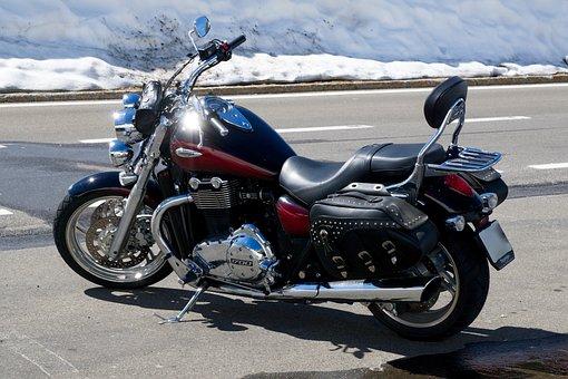 Motorcycle, Snow, Melt, Melt Water, Alpine Road