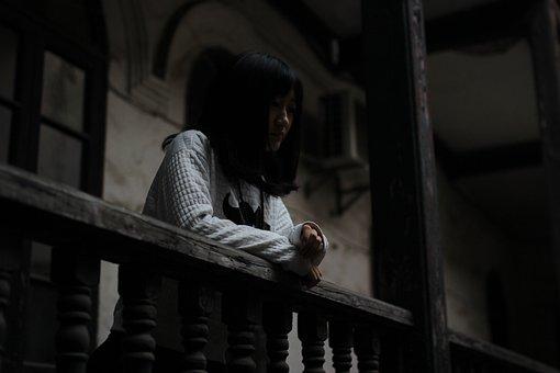 Woman, Human Figure, Retro, Old Wooden Windows, Dark