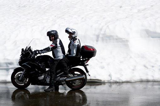 Motorcycle Team, Motorcycle, Driver, Pillion, Snow