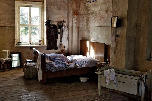 Bed, Cot, Old, Historically, Vintage, Klöden Burg