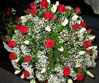 Red Roses, White Roses, Baby's Breath, Bouqet, Flowers