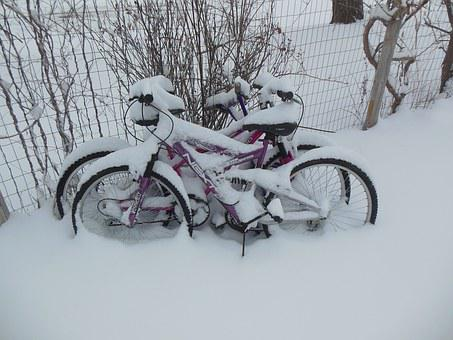 Snow, Bike, Winter, Bicycle, Cycle, Bicycling, Outdoors