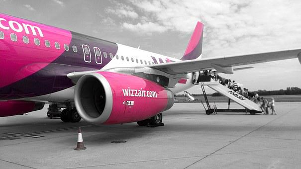 Wizzair, Flying, Airport, Simple, Pink, Cheap