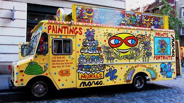 Colorful Vans, Cheerful, Advertising, Advertisement
