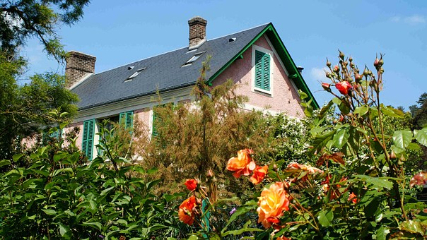 House, Gable, Roof, France, Giverny, Claude Monet
