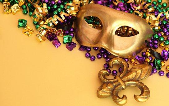 Masks, Glitter, Gold, Carneval, Decoration