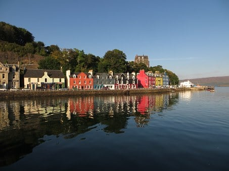 Tobermory, Mull, Scotland, Island, Harbour, Reflection