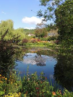 Garden, Flowers, Giverny, Monet, Impressionism, Pond