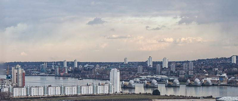 London, River, Thames, Thames Barrier, Skyline