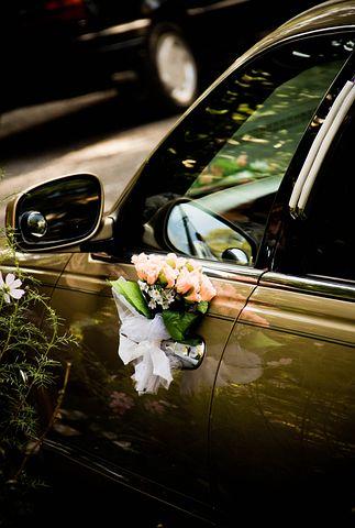 Limousine, Wedding, Flowers, Roses