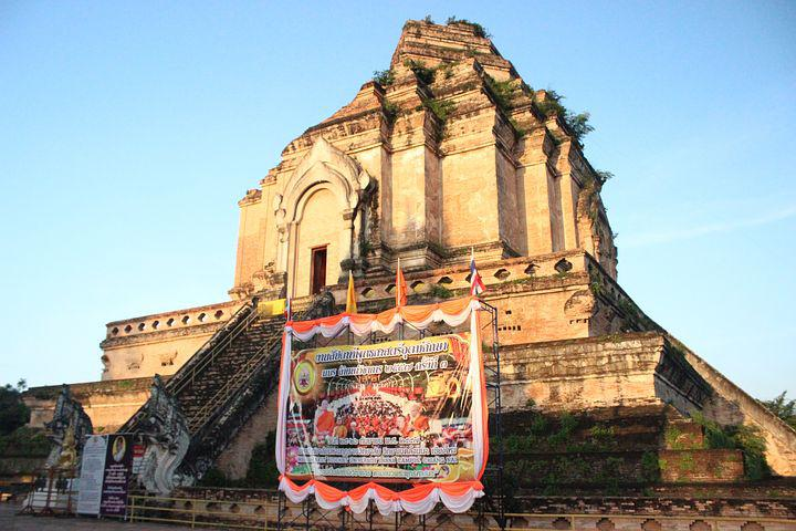Chiang Mai, 切迪隆 Temple, Early In The Morning, Stupa