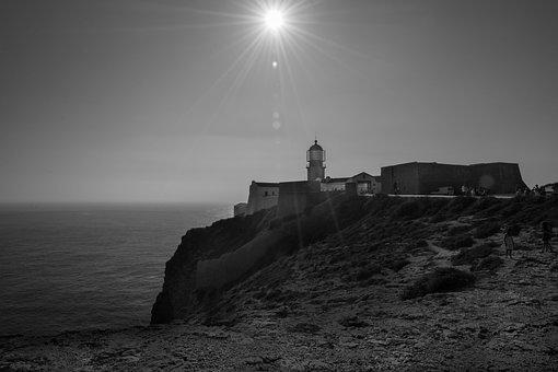 Lighthouse, Beacon, Cliff, Coast, Ocean, Shore, Sun