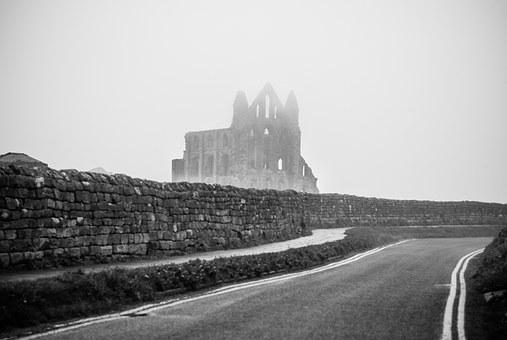 Whitby, Abbey, Ruins, Black And White, Dracula, Road