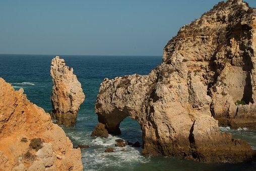 Portugal, Lagos, Ocean, Erosion, Cliff, Ark, Waves
