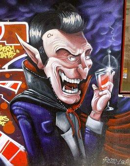 Graffiti, Barañain, Navarre, Dracula, Vampire, Art