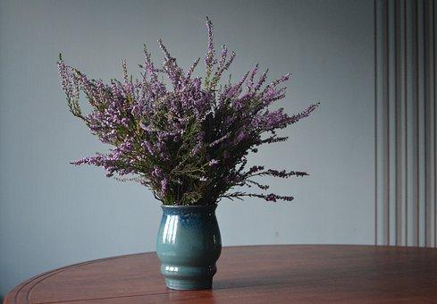 Vase, Heather, Bouquet, Flowers, Autumn Bouquet, Blue