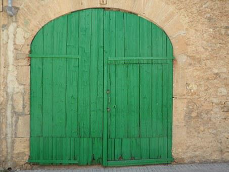 Green, Door, Goal, Hinged Door, Old, Input, Building