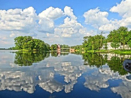 Jaz Walcowy, Lake, Water, Reflection, Calm, Clouds
