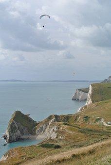 Dorset, Parasailing, Coast, England, English, Landscape