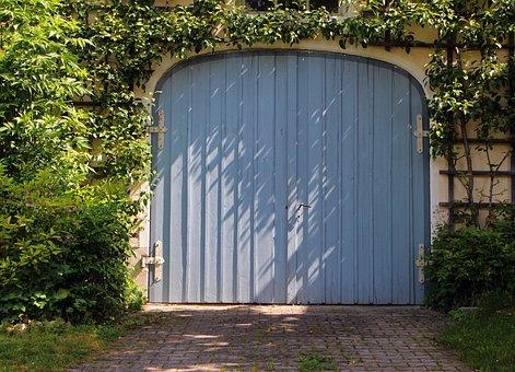 Garage, Garage Door, Door, Goal, Hinged Door, Wood