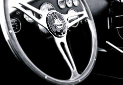 Vintage, Car, Steering Wheel, Interior, Vintage Cars