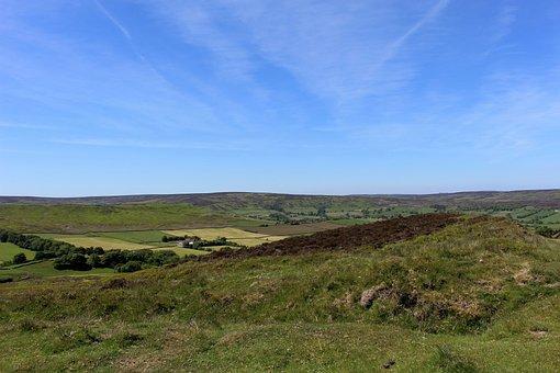 Yorkshire Moors, England, Landscape, Blue Sky
