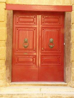 Front Door, Old, Malta, Wood, Doorknocker, Hinged Door
