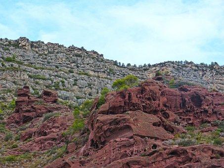 Rock, Red Sandstone, Montsant, Priorat, Red Rocks