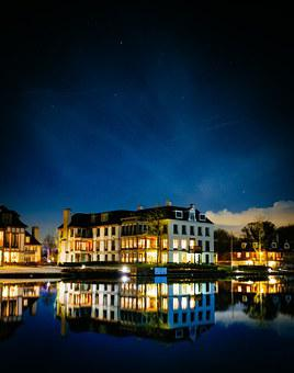 Night, Water, Building, Reflection, House, City