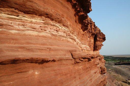 Sandstone, Island, Tidal Erosion, Red Rocks
