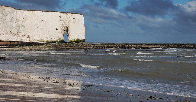 Chalk, Cliff, Arch, White, Sea, Coast, Beach, Kent