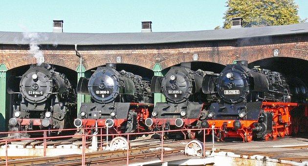 Steam Locomotive, Locomotive Shed, Hub, Staßfurt