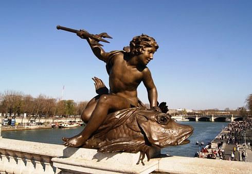 Paris, Alexandre Iii Bridge, Statue, Triton