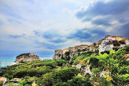 Calabria, Tropea, Hdr, Coast, Sky, Italy, Chapel
