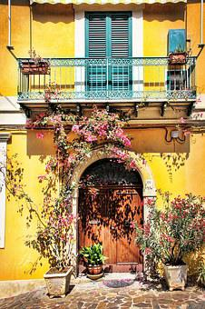 Facade, Calabria, Colorful, Flowers Housewife, Color