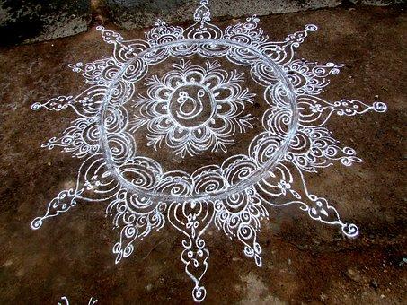 Rangoli, Tradition, Dharwad, India, Design, Drawing