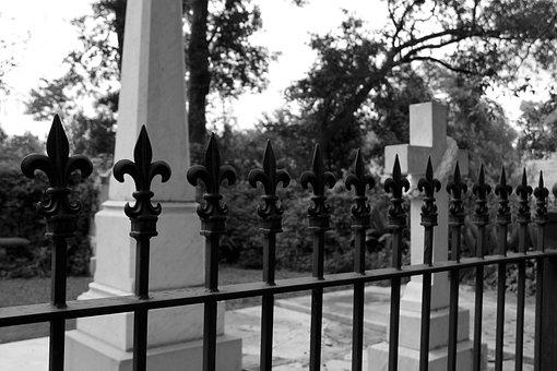 Graves, Fleur De Lis, Gate, Fence, Grave, Cross