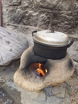 Fireplace, Hearth, Old, Stove, Burning, Cooking, Pot
