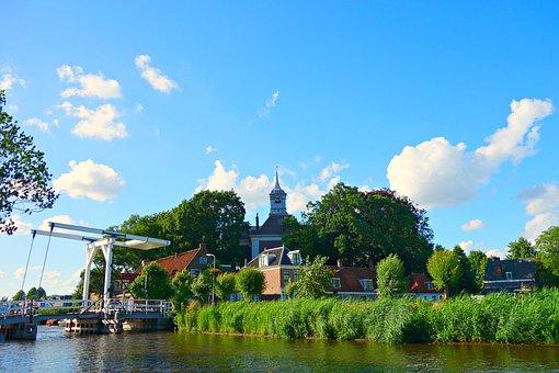 Village, River, Bridge, Riverside, Historic